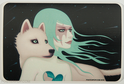 Artist Tara McPherson The Wanderers Sticker, Girl with White Wolf Dog