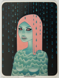 Artist Tara McPherson Wandering illuminations Sticker, Girl with Waves, Pulsations, Vibrations, Cosmic, High