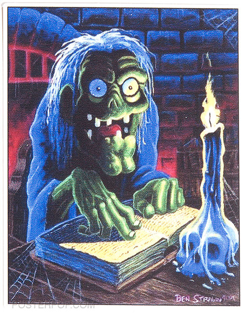 Ben Von Strawn Greetings Kiddies Sticker, Tales from the Crypt, Crypt Keeper, Skull, Candle, Monster