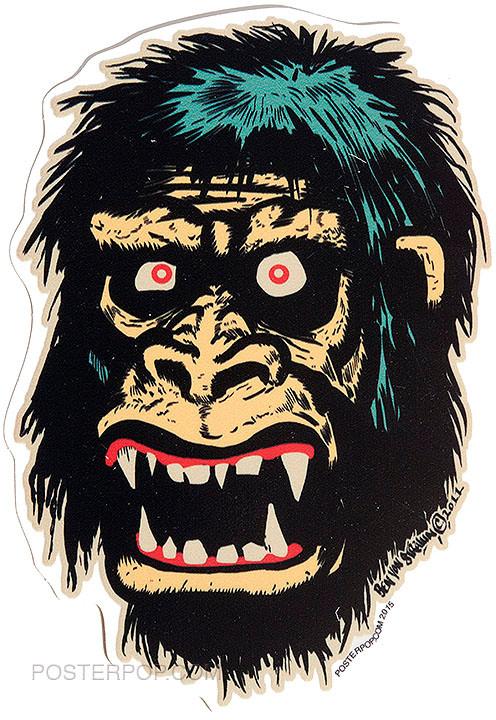 Ben Von Strawn Go Go Gorilla Sticker, Ape, Monkey, Monster
