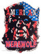 Ben Von Strawn American Werewolf Sticker, Red White Blue, Stars Stripes, American Flag, Monster