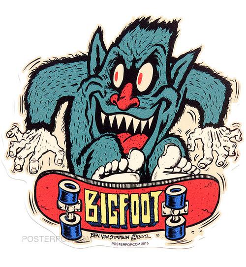 Ben Von Strawn Bigfoot SK8 Sticker, Skateboard, Skate, Skater. Big Foot, Monster