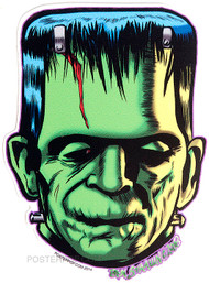 Ben Von Strawn Franken-Kolor Sticker, Frankenstein, Monster, Green, Bolts