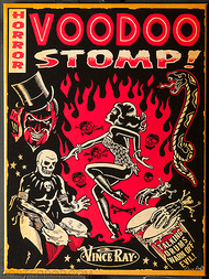 Vince Ray Voodoo Stomp Fine Art Print on Canvas, Flames, Dancer, Dancing, Drums, Skeletons, Ritual, Devil, Snake, Red, Tan, Black, Poster, Graphic Design