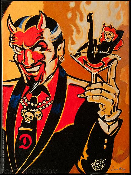 Vince Ray Martini Devil Fine Art Print on Canvas, Handsome Devil, Devil Girl, Martini Glass, Burlesque, Skulls, Flames
