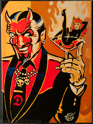 Vince Ray Martini Devil Fine Art Print on Canvas, Handsome Devil, Devil Girl, Martini Glass, Burlesque, Skulls, Flames