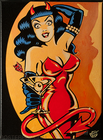 Vince Ray Martini Devil Girl Fine Art Print on Canvas, Sexy Devil Girl, Dress, Martini Glass, Eyeball Olive, Devil Swizzle Stick
