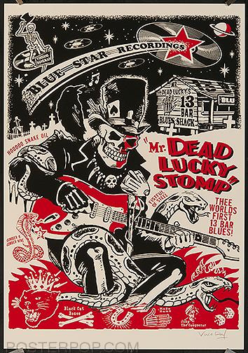 Vince Ray Hotrods to Hell Silkscreen Poster, Skulls, Skeleton, Boneman, Guitar, Swamp, Singer, Guitarist, Black Cat, Cobra, Bones