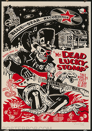 Vince Ray Hotrods to Hell Silkscreen Poster, Skulls, Skeleton, Boneman, Guitar, Swamp, Singer, Guitarist, Black Cat, Cobra, Bones