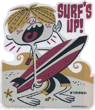 DYS57 Derek Yaniger Surfs Up Sticker Surf Beach Surfer Surfboard Waves Tiki Murf The Surf