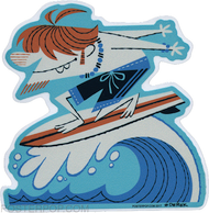Artist Derek Yaniger Quasimodo Surfer Surfing Surf Ocean Sea Redhead Beach Bum Surfboard Longboard Wave Shoot the Curl Board Shorts Swimsuit Hang Ten Toes on the Nose Water Sport Sticker