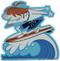 Artist Derek Yaniger Quasimodo Surfer Surfing Surf Ocean Sea Redhead Beach Bum Surfboard Longboard Wave Shoot the Curl Board Shorts Swimsuit Hang Ten Toes on the Nose Water Sport Sticker