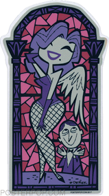 Artist Derek Yaniger Praise Be Sticker Burlesque Pinup Stripper Strip Tease Go Go Go-Go GoGo Showgirl Dancer Fishnet Stockings Angel Wings Stained Glass Church Temple Window Gentlemen's Bachelor Club Worship Worshipper Sticker