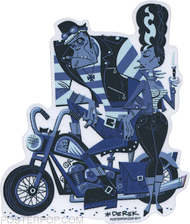 Artist Derek Yaniger Crankenstein Motorcycle Chopper Biker Rockabilly Rocker Greaser Classic Universal Monster Monsters Frankenstein Frankie Bride Leather Jacket Rebel Smoking Smoke Cigar Cigars Cigarette Cigarettes switchblade knife Blue Jeans Sticker
