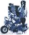 Artist Derek Yaniger Crankenstein Motorcycle Chopper Biker Rockabilly Rocker Greaser Classic Universal Monster Monsters Frankenstein Frankie Bride Leather Jacket Rebel Smoking Smoke Cigar Cigars Cigarette Cigarettes switchblade knife Blue Jeans Sticker