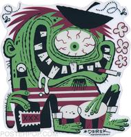 Artist Derek Yaniger Beastnik Beatnik Monster Fink French Beret Goatee Smoke Smoking Cigarette Cigarettes Bongos Drums Hep Cat Hipster Pad Coffee Bar Lounge Eyeball Cyclops Liquor Booze Bottle Alcohol Cocktail Drinking Drink Drunk Sticker