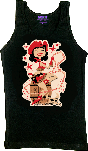 Derek Yaniger Rootin Tootin Cowgirl Woman's Tank Top, Jersey, Cowboy, Hat, Rope, Pinup, Skirt, Holster, Gun, Star, Red, Cow Skull