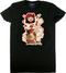 Derek Yaniger Rootin Tootin Cowgirl Woman's Tee, T-Shirt, Shirt, Short Sleeve, Cowboy, Hat, Rope, Pinup, Skirt, Holster, Gun, Star, Red, Cow Skull