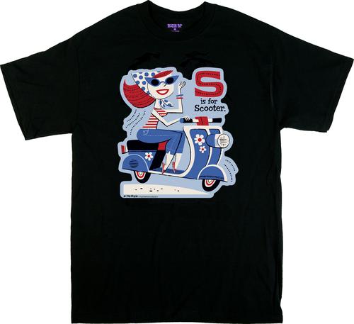 Derek Yaniger S is for Scooter T Shirt, Vespa, Lambretta, Moped, Redhead, Girl, Retro, 50s. 60s. Flowers, Crazy Daisy, Daisys, Cartoon, Poster Pop