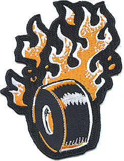 Vince Ray Flaming Wheel Orange LTD Patch, Embroidered Iron On Patches