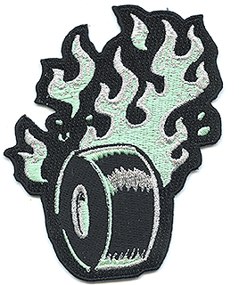Vince Ray Flaming Wheel Foam Green LTD Patch, Embroidered Iron On Patches