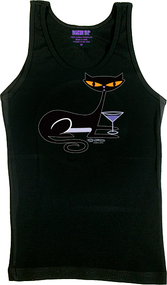 SHBB79 SHAG Cocktail Kitty Woman's Tank Top, Shag Cat, Black, Martini Glass, Drinking, Funny, T-Shirt, Apparel