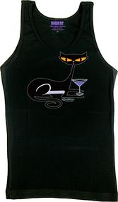 SHBB79 SHAG Cocktail Kitty Woman's Tank Top, Shag Cat, Black, Martini Glass, Drinking, Funny, T-Shirt, Apparel