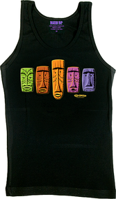 SHBB100 SHAG 5 Tikis Woman's Baby Doll Tee and Tank Top, Tikis, Tiki, Color, Rainbow, Hawaii, Cool, Beautiful, Favorite