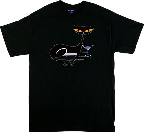 SH79 Shag Cocktail Kitty T Shirt, Shag Cat, Martini Glass, Fun, Drinking, Vodka, Gin