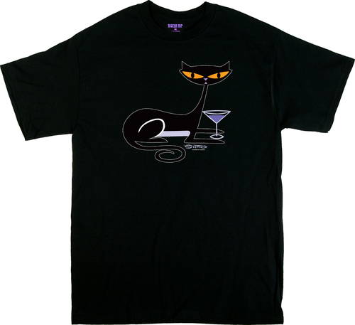SH79 Shag Cocktail Kitty T Shirt, Shag Cat, Martini Glass, Fun, Drinking, Vodka, Gin