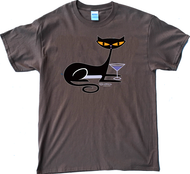 SH79 Shag Cocktail Kitty T Shirt on Brown Tee, Shag Cat, Martini Glass, Fun, Drinking, Vodka, Gin