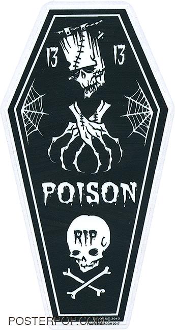 PGS65 Pigors Poison Coffin Sticker, Frankenstein, Skull, 13, Spider Webs, Tattoo, Skeleton, Bones
