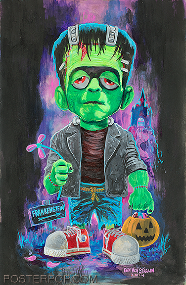 OGBV08 Ben Von Strawn Young Frankenstein Original Painting, Frankie Jr, Junior, Trick or Treater, Cartoon, Acrylic