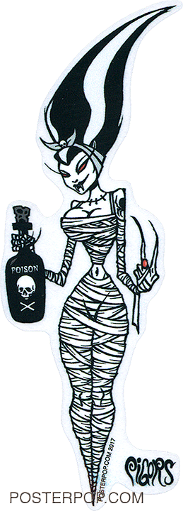 PGS63 Pigors Mummy Bride Sticker. Bride of Frankenstein, Poison, Alcohol, Cartoon, Monster