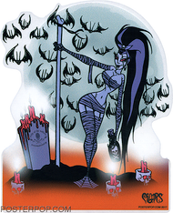 Pigors Lilly of the Valley Sticker, Stripper, pole Dancer, Bone, Pole, Bats, Sexy, Alluring, Grave, Graveyard, Moon, Candles, Romantic
