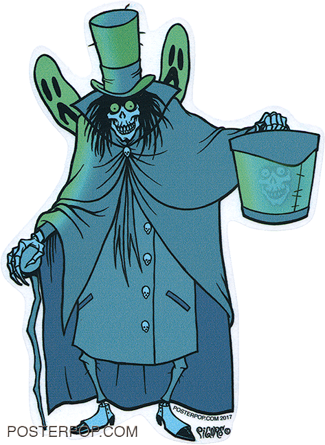 Artist Eric Pigors Hat Box Ghost Sticker, Disney, Haunted Mansion, Head, Skull, Monster, Ghosts