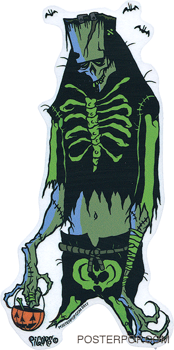 Artist Eric Pigors Franken-Treat Sticker, Tick or Treater, Costume, Frankenstein, Skeleton