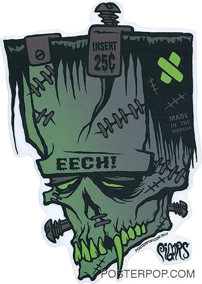 Artist Eric Pigors Franken-Eech Sticker, Frankenstein, Head, Face, Tech!, Mad Magazine, Strews, Bolts, Fangs