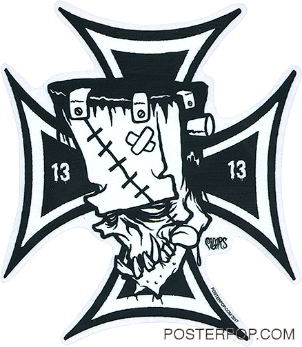 Artist Eric Pigors Franken-Cross Sticker, Iron Cross, Frankenstein, Cartoon, 13, 1313, Devil