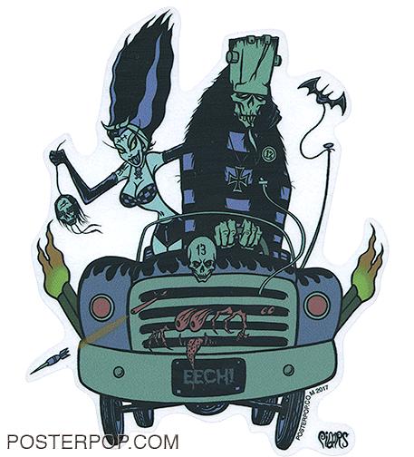 Artist Eric Pigors Eech-Mobile Sticker, Campy, Frankenstein, Monsters, Daughter, Girlfriend, Crazy, Drunk, Drinking, Driving, 1313, Eech!, Mad Magazine, Funny