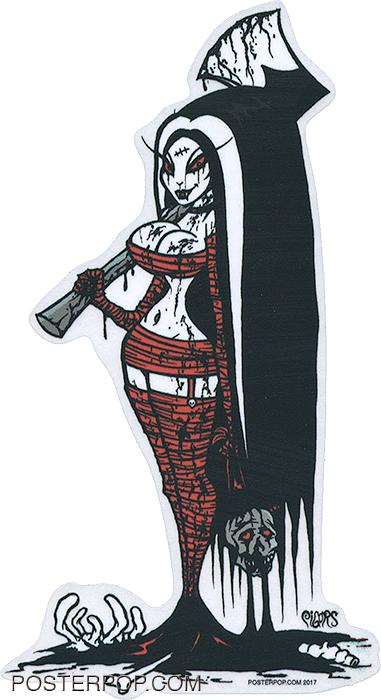 Artist Eric Pigors Axe Victim Sticker, Love Bites, Vampire, Axe, Weapon, Beheading, Bloody, Sexy, Horror, Monster