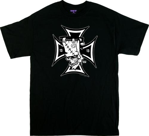 Artist Eric Pigors Franken-Cross T-Shirt, Frankenstein, Iron Cross, 13, 1313, Poster Pop, Teeth, Fangs, Cartoon, Awesome