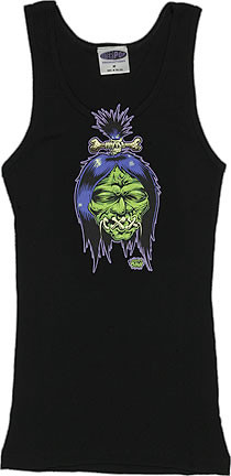 Dirty Donny Shrunken Head Woman's Baby Doll Tee and Boy Beater Tank (DDBB04)