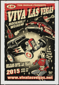 P-VRVLV18 Viva Las Vegas VLV18 Silkscreen Poster 2015 by Vince Ray