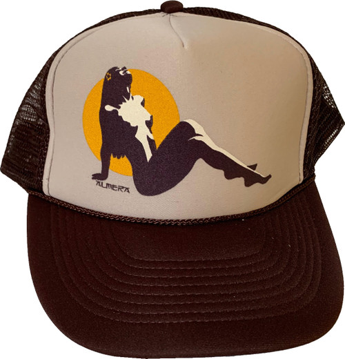 Almera Hula Girl Trucker Hat Brown