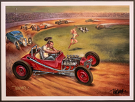 P-KWA41 Weesner Dirt Track Date Checkered Flag Signed Art Print
