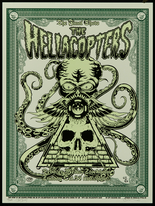 P-DDAF07 Dirty Donny Alan Forbes Joint Hellacopters 2008 Sweden Silkscreen Concert Poster