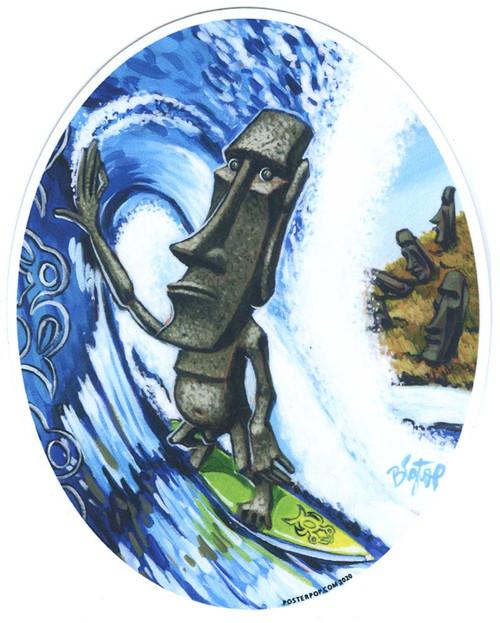 BigToe Moai Surf Sticker, Surfer, Kelly Slater, Hawaii, Tubular Image