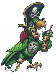 BigToe Party Pirate Parrot Sticker, Rum, Tiki Mug, Pegleg