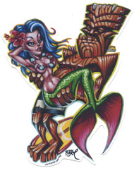 BigToe Toes Nose Sticker Hang Ten Surfin Tiki Mermaid Image